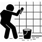 Cleaning Icon Wall Scrubbing Tiles Brushing Mosaic