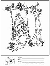 Swing Tree Coloring Precious Moments Drawing Swinging Pages Colouring Sheet Getdrawings 1050 Summer Printable sketch template