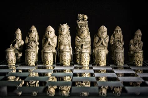 Ancient Chess Set On Glass Board Stock Photo  Image 43095133