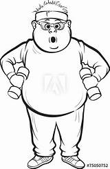 Fat Drawing Whiteboard Guy Vector Coloring Line Training Illustration Obese Children Lifestyle Healthy Gym sketch template