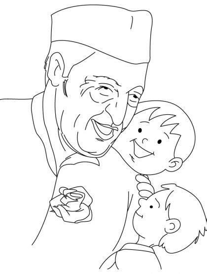 chacha nehru coloring page   chacha nehru