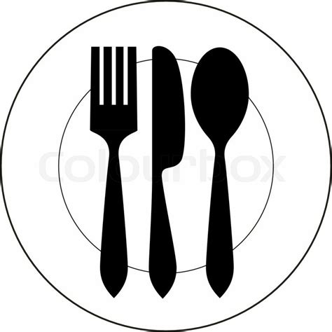vector icon illustration  plate  fork knife