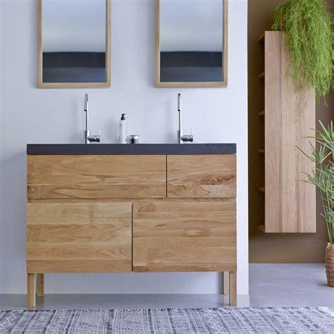 meuble en chne et vasques de lave easy duo vente meubles salle de bain bois tikamoon