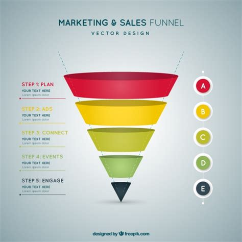 flat infographic template  funnel shaped vector