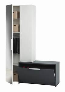 Meuble Chaussure Gris : vestiaire tiroir avec abattant madrid blanc gris ~ Teatrodelosmanantiales.com Idées de Décoration