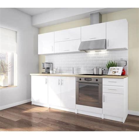 cuisine laque blanc corry 240 cuisine complète 2m40 laqué blanc brillant