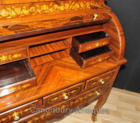 bureau louis louis xv roll top desk bureau writing table inlay