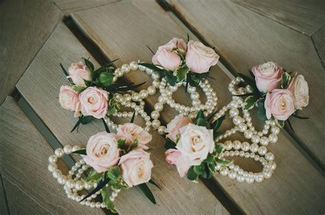 blush wedding flower corsage pearl bracelet wedding