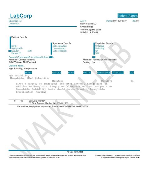 Hemoglobin Solubility Test: Sickledex | Walk-In Lab