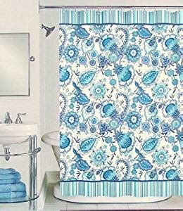 peri henley floral fabric shower curtain in
