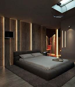 Cool Masculine Bedroom For Mens With Led Lighting Wall Decor