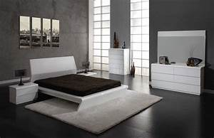 White modern bedroom furniture set raya furniture for Contemporary white bedroom furniture