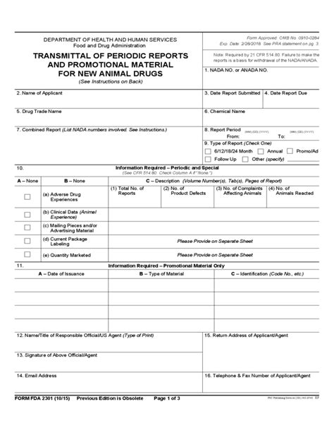 form fda  transmittal  periodic reports