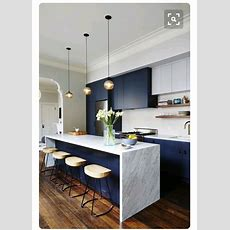 Navy Blue Kitchen  I Dont Know If I'll Have The Guts To