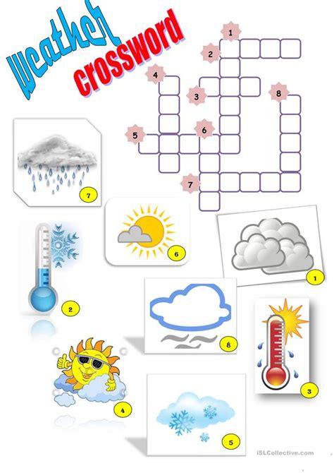 weather crossword worksheet free esl printable