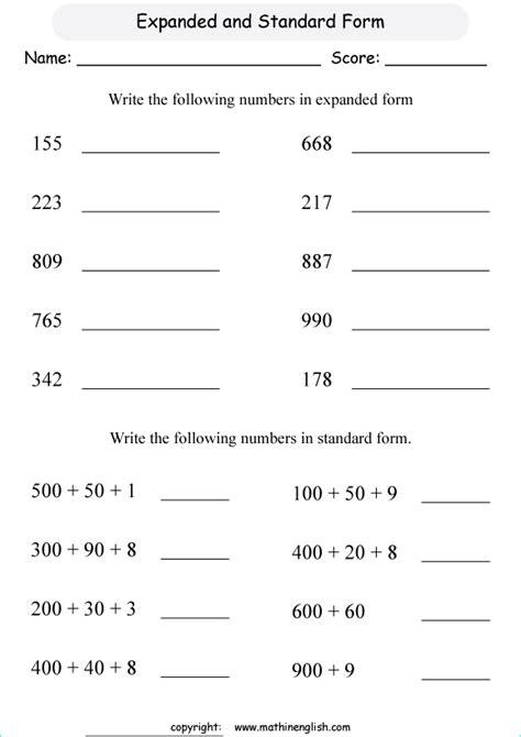 expanded form printable grade  math worksheet
