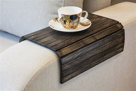 small rectangular ottoman coffee table wooden sofa armrest tray table the green