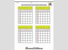 Multiplication Practice Worksheets to 5x5