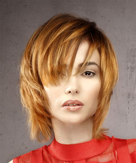 formal short straight shag hairstyle  layered bangs
