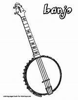 Banjo Coloring Pages Musical Instrument Instruments String Guitar Boys Music Country Printables Drawing Template Guitars Acoustic Downloads Printable Colouring Folk sketch template