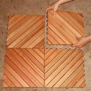 Vifah Roch 12 Diagonal Slat Style Hardwood Deck Tile-A3458