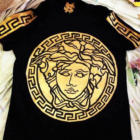 shirt versace medusa head gold wheretoget