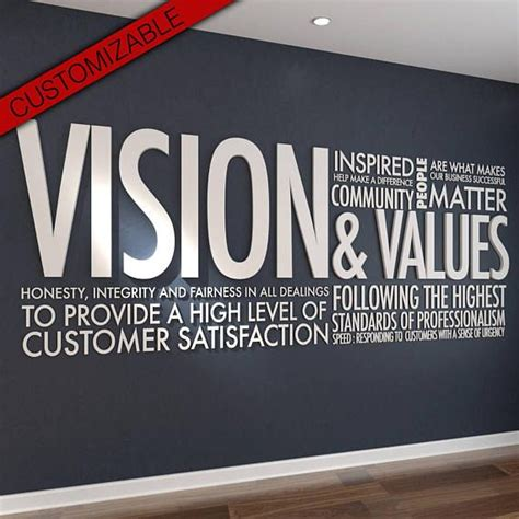 vision values  letters office wall art wall