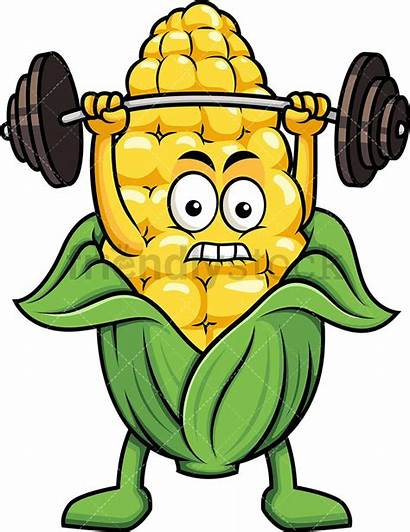 Animated Clipart Barbell Cartoon Corn Weights Lifting