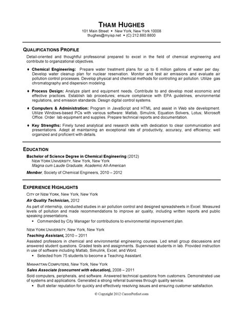 Undergraduate Chemical Engineering Resume by Careerperfect 174 Academic Skill Conversion Chemical Engineering Sle Resume