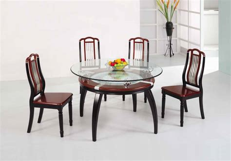 wooden dining table designs  glass top