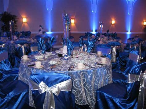 royal blue  silver reception decor royal blue ivory