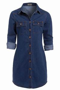 Womens Vintage Casual Button Down Long Sleeve Denim Jean Shirt Dress Size UK6-14 | eBay