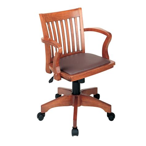 office adjustable wood bankers desk chair with vinyl