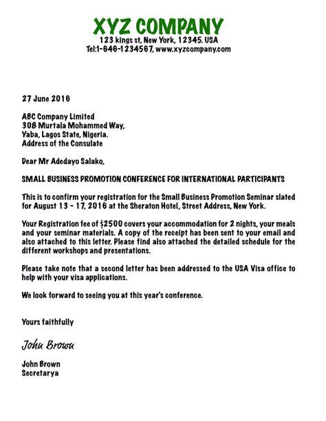 writing  invitation letter  business visa usa