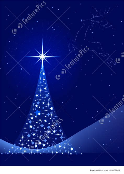 vertical blue background  christmas tree  reindeer