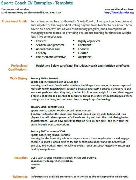 Football Coach Resume by Sports Coach Cv Exle Coaching Drills Cv Exles