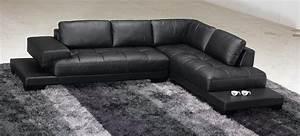 Taking care the modern black leather sectional s3net for Black leather modern sectional sofa sleeper with ottoman