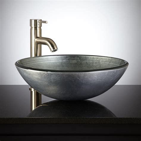 sink with bowl on silver glass vessel sink bathroom