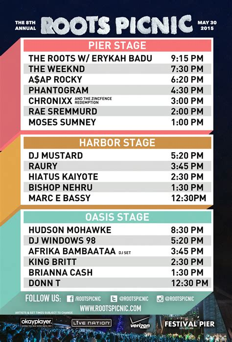 roots picnic schedule times site map