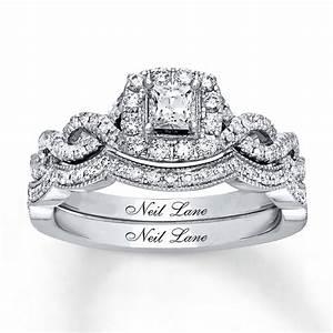 kay neil lane bridal set 3 4 ct tw diamonds 14k white gold With neil lane wedding ring sets