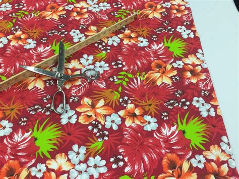 Poly Cotton Print Upholstery & Floral Fabric - Red ...