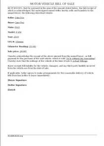 Vehicle Bill of Sale Letter Sample