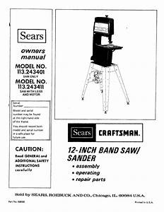 Craftsman 113243401 User Manual 12 Inch Band Saw Manuals