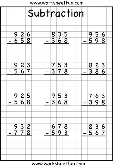 subtraction with regrouping worksheets 3 digit borrow subtraction regrouping 5 worksheets