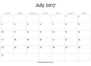 Free Printable Blank Calendar July 2017