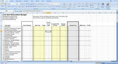 renovation construction budget spreadsheet implementing