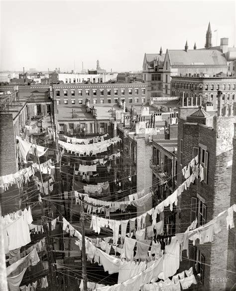 Circa 1900 1910 Yard Of Tenement New York City Hung