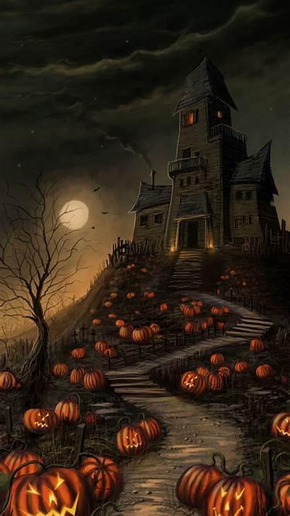Halloween Haunted Android Pumpkin Wallpapers 4k Holiday