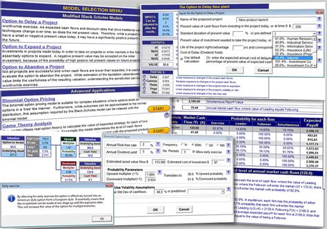 excel real options valuation template