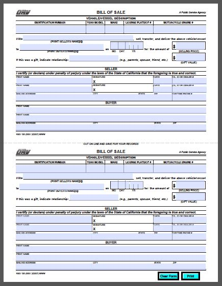 vehicle bill of sale template fillable pdf california vehicle bill of sale form free fillable pdf forms